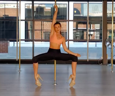 image of video pole dancing at The Pole Room CBD studio wearing heels